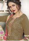 Faux Crepe Beige and Brown Digital Print Work Palazzo Salwar Suit - 1