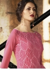 Beige and Hot Pink Faux Crepe Trendy Palazzo Salwar Suit - 1