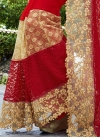 Beige and Red Faux Georgette Designer Traditional Saree For Ceremonial - 2
