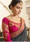 Grey and Rose Pink Art Silk Designer Contemporary Saree - 1