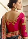Grey and Rose Pink Art Silk Designer Contemporary Saree - 2