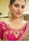 Embroidered Work Navy Blue and Rose Pink Traditional Designer Saree - 1