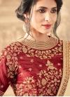 Cream and Crimson Art Silk Half N Half Trendy Saree - 1