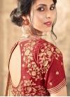 Cream and Crimson Art Silk Half N Half Trendy Saree - 2
