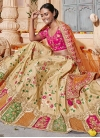 Beads Work Cream and Rose Pink A Line Lehenga Choli - 1