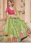 Beads Work Mint Green and Rose Pink Jacquard Silk Lehenga Choli - 1