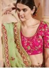 Beads Work Mint Green and Rose Pink Jacquard Silk Lehenga Choli - 2