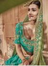 Aqua Blue and Olive Embroidered Work Jacquard Silk Trendy A Line Lehenga Choli - 1