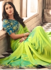 Light Blue and Mint Green Embroidered Work Classic Designer Saree - 1