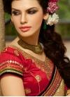 Savory Stone And Lace Work Wedding Saree - 1
