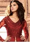 Beige and Red Banarasi Silk Kameez Style Lehenga - 1
