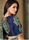 Grey and Navy Blue Embroidered Work Contemporary Style Saree - 2