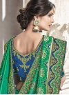 Blue and Green Trendy Saree For Festival - 1