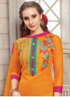 Cotton Fuchsia and Orange Embroidered Work Trendy Churidar Salwar Kameez - 1