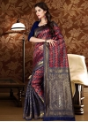 Navy Blue and Red Thread Work Trendy Saree - 1