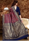 Navy Blue and Red Thread Work Trendy Saree - 2