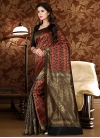 Patola Silk Thread Work Black and Tomato Contemporary Style Saree - 1