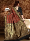 Patola Silk Thread Work Black and Tomato Contemporary Style Saree - 2