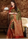 Thread Work Green and Red Trendy Saree - 1