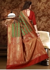 Thread Work Green and Red Trendy Saree - 2