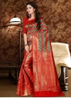 Red and Sea Green Patola Silk Trendy Classic Saree - 1