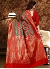 Red and Sea Green Patola Silk Trendy Classic Saree - 2