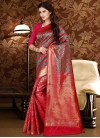 Rose Pink and Sea Green Contemporary Style Saree - 1