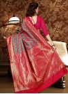 Rose Pink and Sea Green Contemporary Style Saree - 2