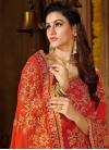 Crimson and Orange Trendy Classic Saree For Ceremonial - 1