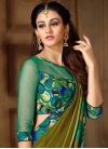 Satin Georgette Green and Olive Trendy Classic Saree For Ceremonial - 1
