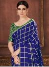 Art Silk Green and Navy Blue Classic Saree - 1