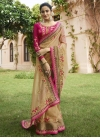 Beige and Rose Pink Trendy Saree For Festival - 1