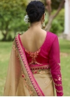 Beige and Rose Pink Trendy Saree For Festival - 2