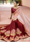 Maroon and Pink Satin Silk Half N Half Trendy Saree - 1