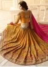 Mustard and Rose Pink Embroidered Work Banarasi Silk Half N Half Saree - 1