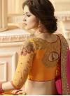 Mustard and Rose Pink Embroidered Work Banarasi Silk Half N Half Saree - 2