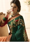 Green and Peach Banarasi Silk Half N Half Trendy Saree - 2