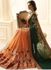 Green and Peach Banarasi Silk Half N Half Trendy Saree - 1