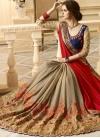 Embroidered Work Beige and Red Half N Half Trendy Saree - 1