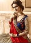 Embroidered Work Beige and Red Half N Half Trendy Saree - 2