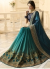 Embroidered Work Half N Half Trendy Saree For Festival - 1