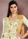 Embroidered Work Chanderi Cotton Cream and Gold Trendy Straight Salwar Kameez - 1