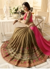 Brown and Rose Pink Embroidered Work Half N Half Saree - 1