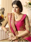 Brown and Rose Pink Embroidered Work Half N Half Saree - 2