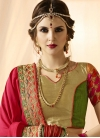 Embroidered Work Mustard and Red  Half N Half Saree - 2