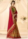Embroidered Work Mustard and Red  Half N Half Saree - 1