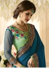 Blue and Mint Green Embroidered Work Half N Half Saree - 1