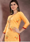 Orange and Red Pakistani Straight Salwar Suit For Ceremonial - 1