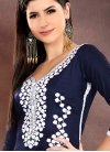 Embroidered Work Navy Blue and Off White Chanderi Cotton Trendy Churidar Salwar Kameez - 1
