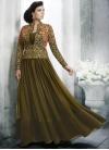 Embroidered Work Art Silk Jacket Style Floor Length Suit - 1